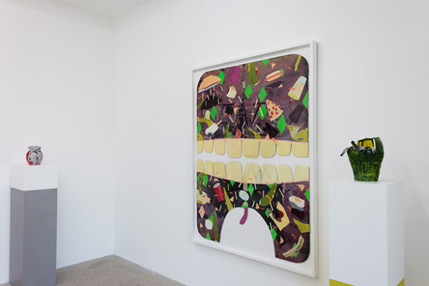 Big Mouth/Eating Shit, 2015<p><span>Mixed media, masking tape and collage on paper, 153 x 116 cm</span></p>