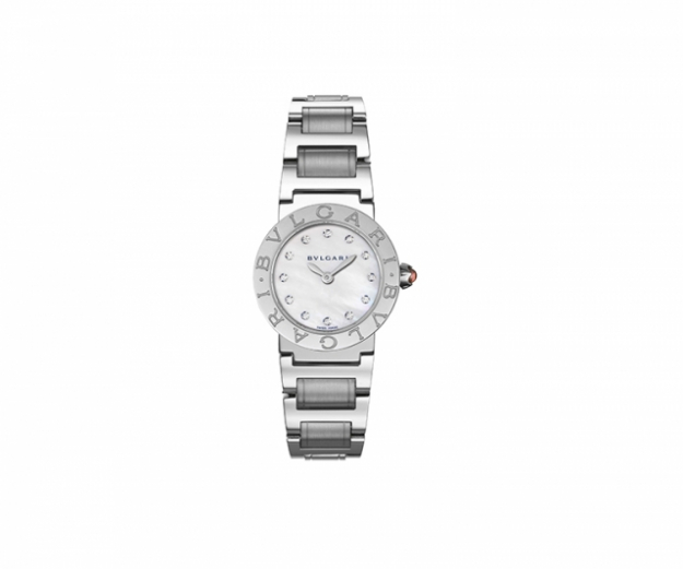 "Bulgari-Bulgari watch with 26mm steel case, mother of pearl white dial, steel bracelet and diamonds<p><a target=""_blank"" href=""http://www.bulgari.com/en-au/"">bulgari.com</a></p>"