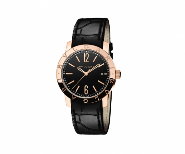 "Bulgari Bulgari watch with 39mm pink gold case, black alligator bracelet, water resistant 50m<p><a target=""_blank"" href=""http://www.bulgari.com/en-au/"">bulgari.com</a></p>"