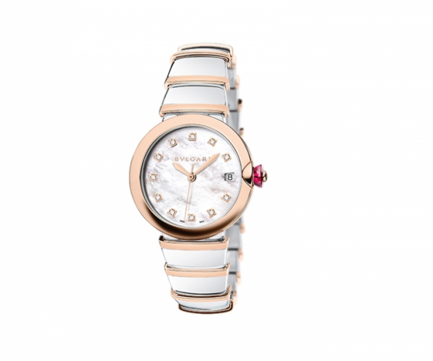 "Lucea watch with 36mm steel gold case, mother of pearl dial with diamond stones<p><a target=""_blank"" href=""http://www.bulgari.com/en-au/"">bulgari.com</a></p>"