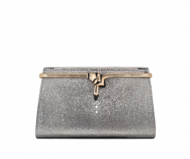 "Bulgari Cocktail clutch in Galuchat Mirage Shiny Silver/Brushed Metallic calf leather, $3710<p><a target=""_blank"" href=""http://www.bulgari.com/en-au/"">bulgari.com</a></p>"