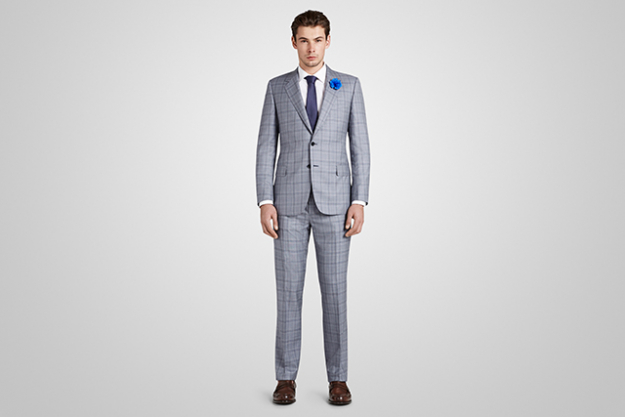 Harrolds Private Label British Suit in Grey Window Pane Check