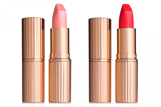 Matte Revolution lipstick in Miss Kensington and 1975 Red, $48 each