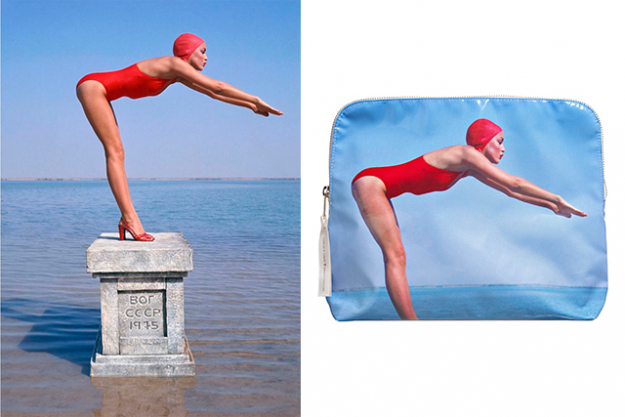 The Bathing Beauty Makeup Bag, $109. featuring Jerry Hall for British Vogue, January 1976