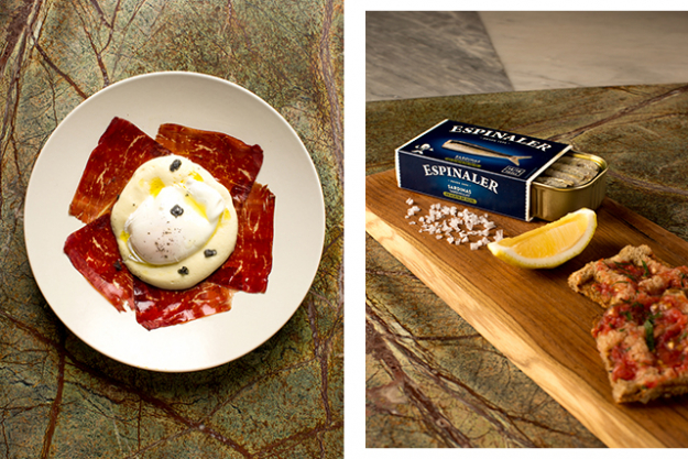 Left: Cecina (air dried beef, truffle foam, poached organic egg); right: Sardinillas (baby sardines)