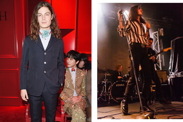At the Gucci A/W '16 menswear show (left) and performing on stage (right)