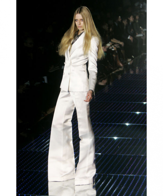 Gucci took cues from The Thin White Duke for their glam rock Fall 2006 collection, all white suits and '70s influences.