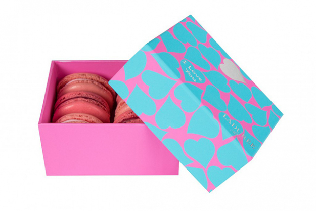 Out of town? Sign, seal and deliver the V-day deal without a hint of kitsch via a set of Ladurée macaroons. A special V-day box includes all the faves like salted caramel, rose petal and pistachio.