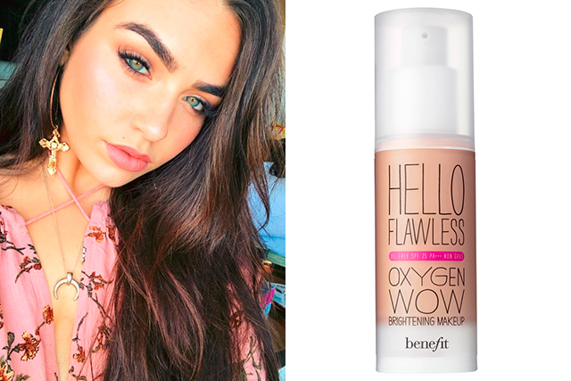 1.	Foundation:  Benefit Hello Flawless Oxygen Wow Foundation. I love this because it gives such a nice natural look that can be easily built up to full coverage.