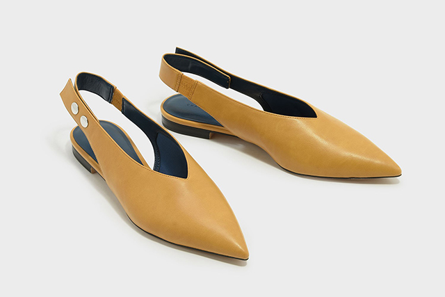 3.	Just ask Pantone, yellow is going to be everywhere come spring 2018. Jump the gun with these chic mustard slingbacks, $59. Also available in so-now white.