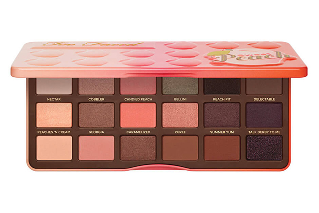 3.	The brand's scented palettes are a cult favourite, so it's no wonder Too Faced Sweet Peach Eyeshadow Collection, $70, sold out in February this year at Mecca. We wonder if the summery whiff of peach had something to do with it?