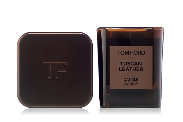 3.	Tom Ford, Private Blend Candle in Tuscan Leather. As fashion's official king of jet-set sexy, Tom Ford's high octane appeal translates brilliantly to scent. The raspberry-inflected aroma of smoky, wearable leather resonates with women who love fragrance with a masculine intensity - refined and not too bracing. As a twin of the private blend fragrance the candle is the perfect gender-neutral gift, with smoky glass that evokes the nocturnal, and the cloistered ambience of the English gentleman's club. The chic cover protects the candle between burns when it glows. Even just an accent of Tom Ford will make the recipient's abode seem sexier.  Tom Ford Private Blend Candle in Tuscan Leather, $215