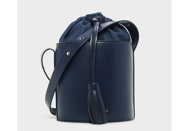 4.	A bucket bag never goes out of style and we love this sleek navy version, $79