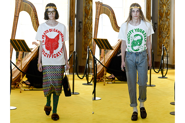 4.	Gucci found itself a sense of self-referential humour via T-shirt slogans that read 'Guccify Yourself', 'Guccification' and 'Guccy'.