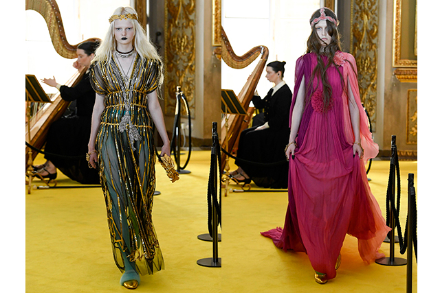 5.	The influence of ancient Greece was prominent, especially seen in the gold leaf crowns worn on models heads and flowing, Grecian goddess gowns.