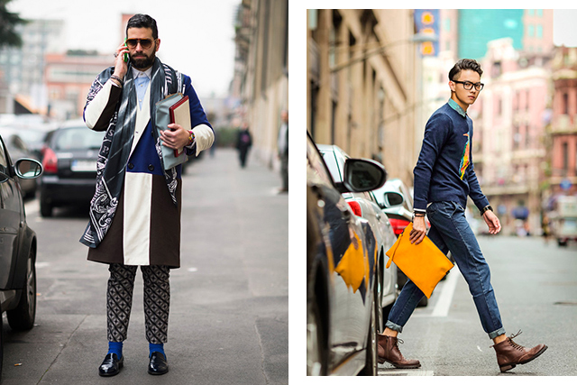"5.	The Is He Or Isn't He? Androgyny is so hot right now and this man knows that when you add an enigmatic edge, people will notice. Cue the muted camp and touches of flamboyance such as a women's clutch and diamond necklace. Then add Blundstone boots, a tattoo of a woman's name and a penchant for manspreading.  Identifying sentence: ""I'll have a San Pellegrino and one of those divine floral prints."""
