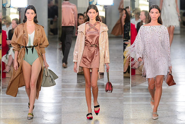 While Donatella was worshipping the Amazonian beauties of the nineties, Bottega Veneta clapped back with casting that was firmly footed in the present-day with Gigi and Bella Hadid, Hailey Baldwin, Kendall Jenner, Super offspring Kaia Gerber and Emily Ratajkowski.