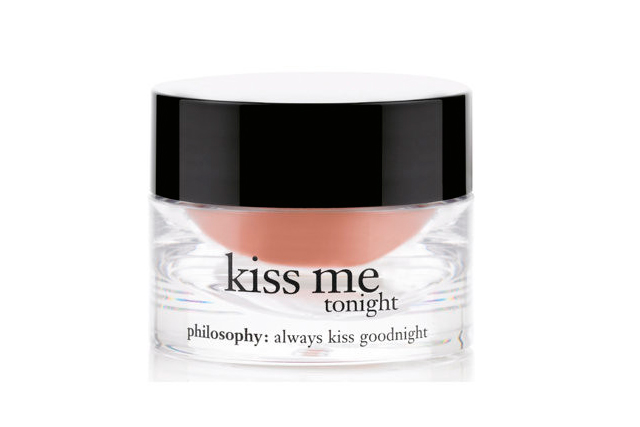 6.	Philosophy Kiss Me Tonight, $22, philosophyskincare.com.au. Slather this intensified lip therapy on before bedtime to treat a seriously parched pout. Containing ingredients like shea butter, sunflower seed oil, castor seed oil and beeswax, this little baby adds softness and definition to your lips while working to diminish fine lines.