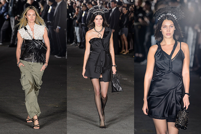 Wang's other favourite girls included Candice Swanepoel in khaki, lace and leather, plus Kendall Jenner and Bella Hadid who wore headdresses saying 'Wangover' and 'Party Animal'.