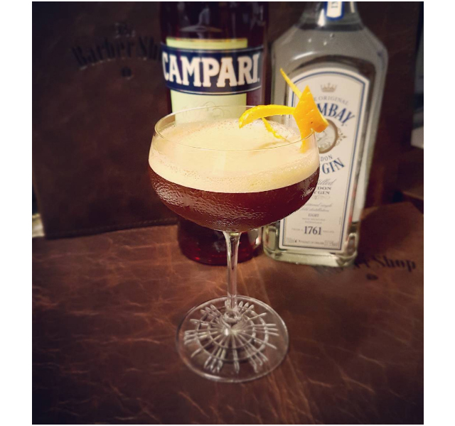 Mellow birds (Bombay dry gin, Campari, espresso and salted caramel), The Barber Shop, Sydney CBD.
