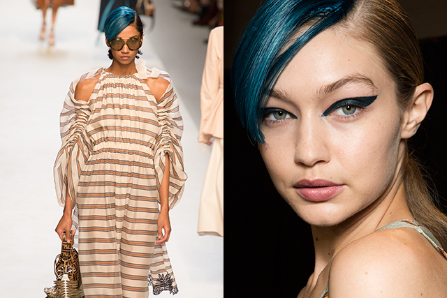 6. Beauty buzz: Blue bangs This season, apparently blue is the warmest colour, as long as it's in a futuristic, steely blue slick down the side of your hair. Add dramatic wingtips for maximum impact.