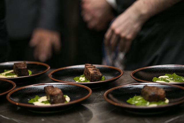 Hops braised Wagyu beef cheek, wild garlic and fermented potato