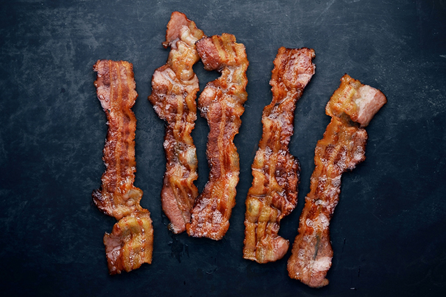 6. Sodium Nitrates and Nitrites  These compounds are used as preservatives predominately in processed meat, such as bacon. They are the reason cured meat appears pink, when you buy nitrate/nitrite free meat it naturally appears grey in colour. When exposed to high heat (such as during cooking) they produce the known carcinogenic compound, nitrosamine.