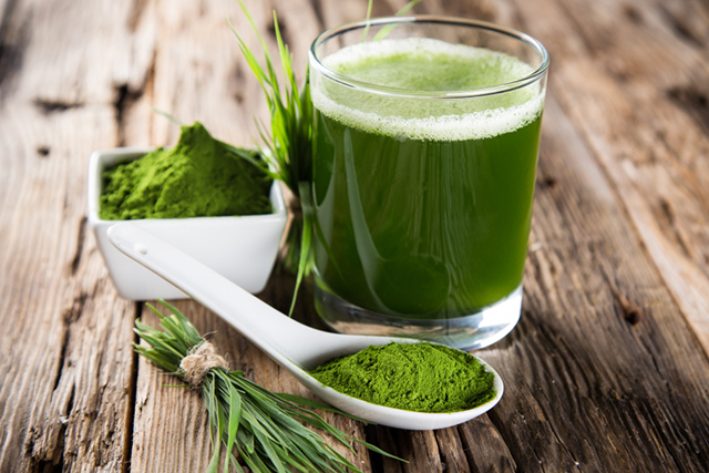 Chlorophyll. The biomolecule that gives plants their green colour; chlorophyll is beneficial for helping to flush toxins and heavy metals from the body.