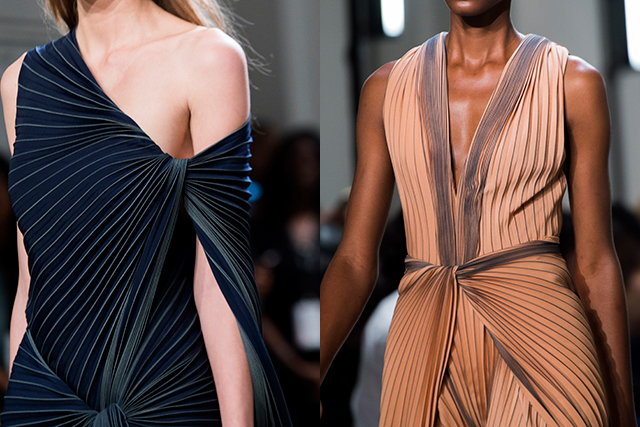 The final looks featured draped and twisted pleating that was both romantic and architectural.