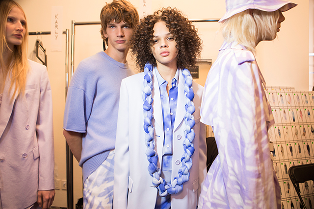 Michael Kors: there was a breezy, Hawaii-meets-Miami Vice vibe at Michael Kors. Models wore relaxed suiting and leis around their neck.