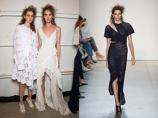 A colour scheme of white, blue and cream meant every look felt summery fresh. Other looks featured asymmetrical cutouts.