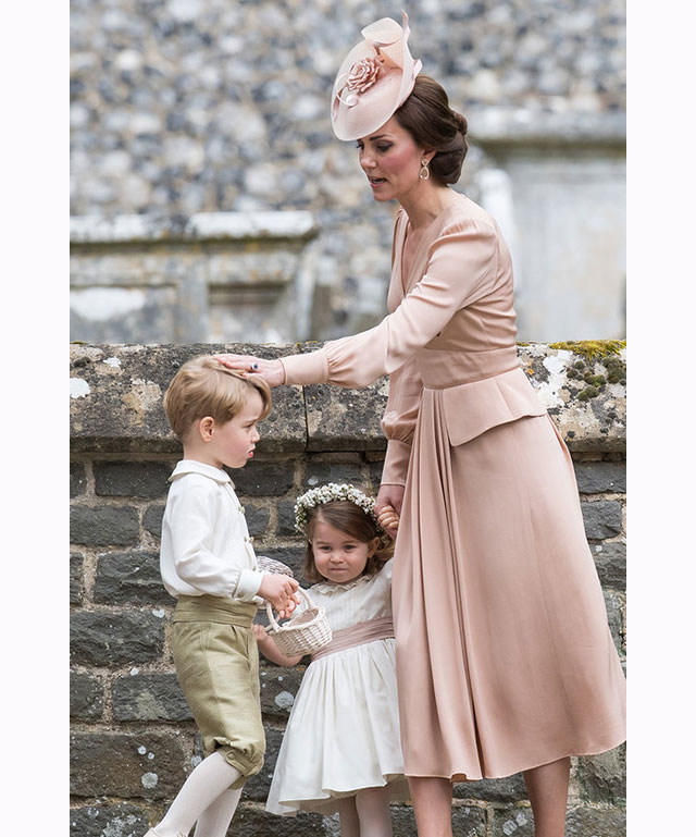 Prince George, Princess Charlotte and Catherine, Duchess of Cambridge at Pippa Middleton's wedding