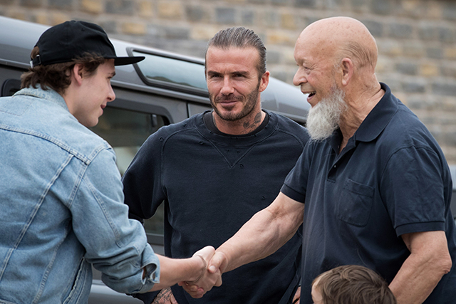 Brooklyn and David Beckham and Glastonbury founder Michael Eavis
