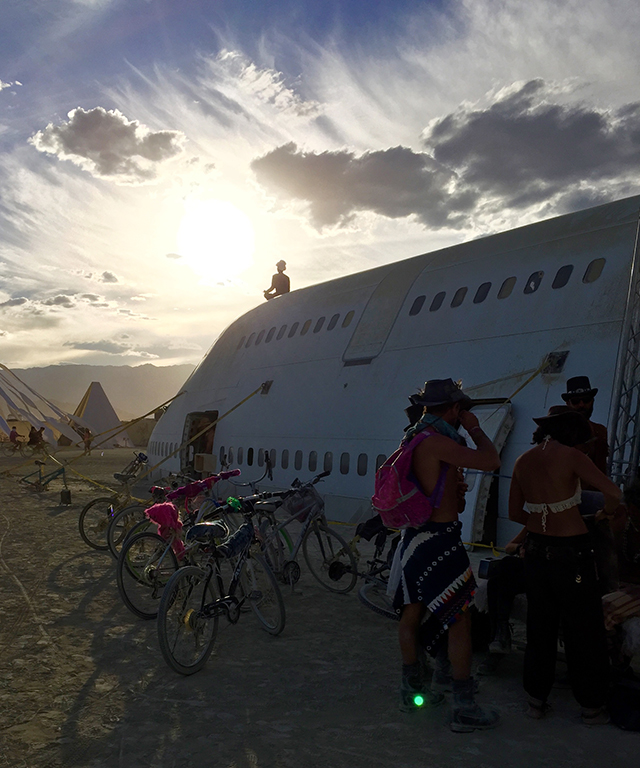 "Burners have been trying to do this for years, but they finally got a 747 onto the playa - and turned it into a huge party where you could get rid of your baggage. The sign on the way into the plane says ""IMPORTANT REMINDER: You are not your baggage. Please discard it and remember who the fuck you really are."""