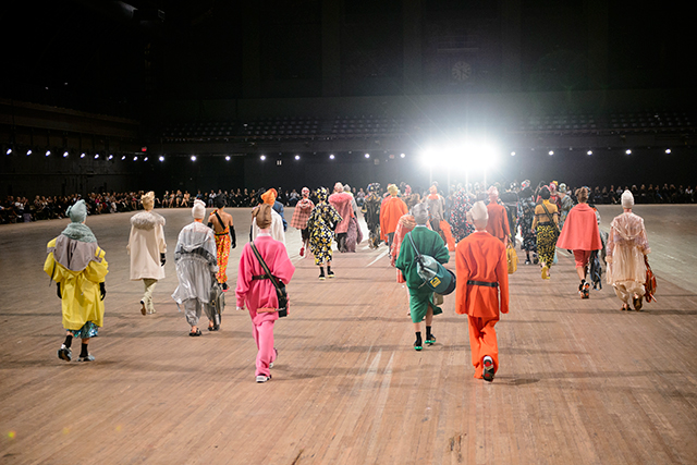 Marc Jacobs: there was a confluence on influences at Marc Jacobs, where turban-wearing models strutted down the runway in a riot of colour and crazy pattern.