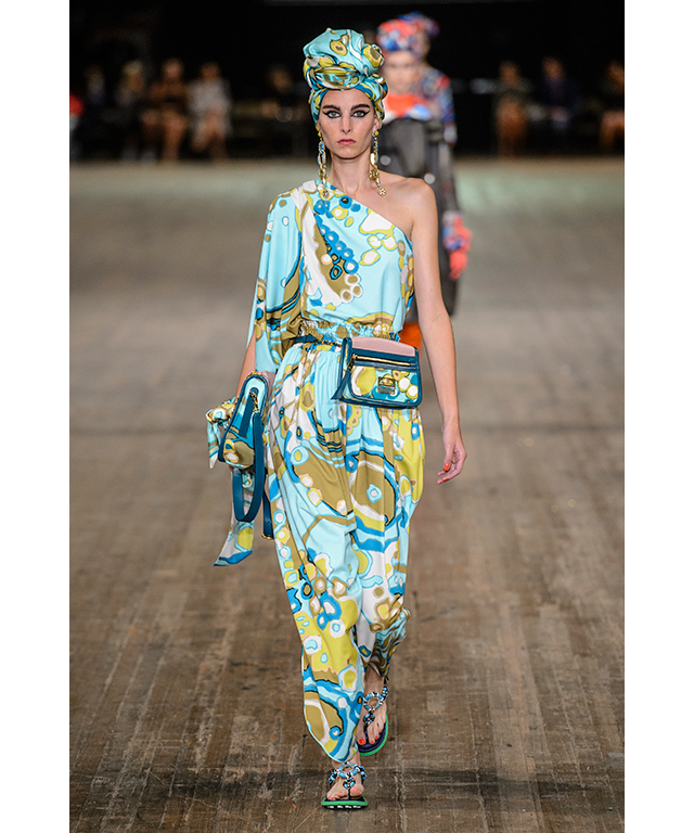 A bit batty, a lot bold and colourful, asymmetrical shoulders and bumbags lent the production a slightly 80s air.
