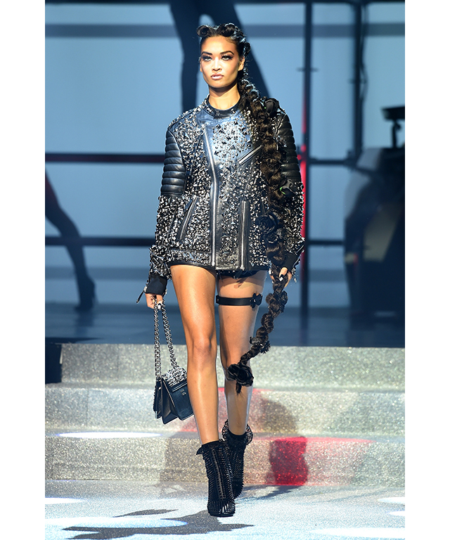 Shanina Shaik: The former Victoria's Secret model walked for Philipp Plein alongside fellow Angels, Adriana Lima and Irina Shayk at NYFW.