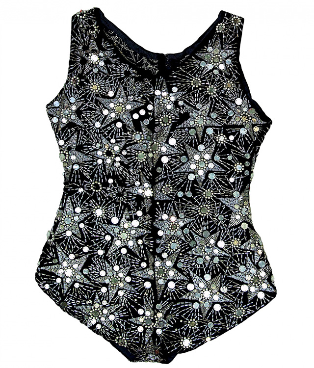 Velvet swimsuit embroidered with mirrors, silver beads and crystals, 1924