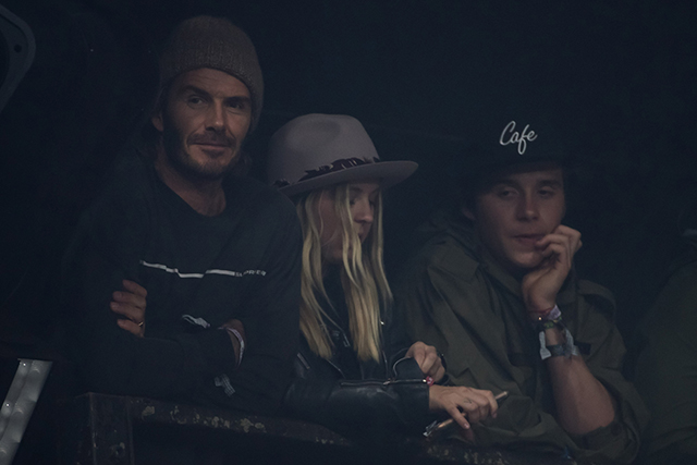 David Beckham and Brooklyn Beckham watching the Foo Fighters