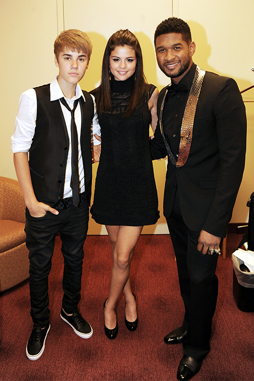 With Justin Bieber and Usher. September 2011