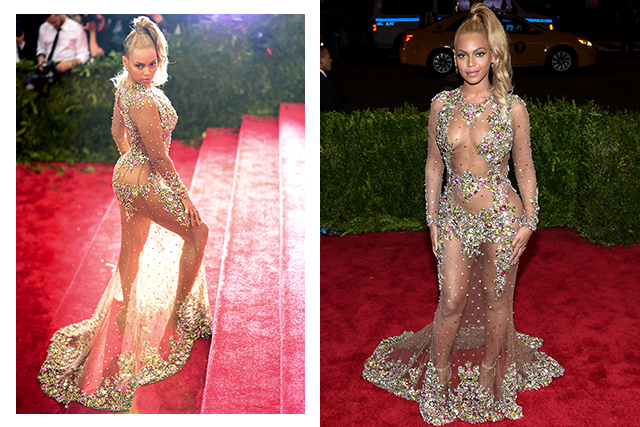 In terms of scary fashion to follow the 2015 Met Gala was the golden ticket. Beyoncé's open-plan dress is ideal for the bikini babe whose trick-or-treat route takes in a pool party.