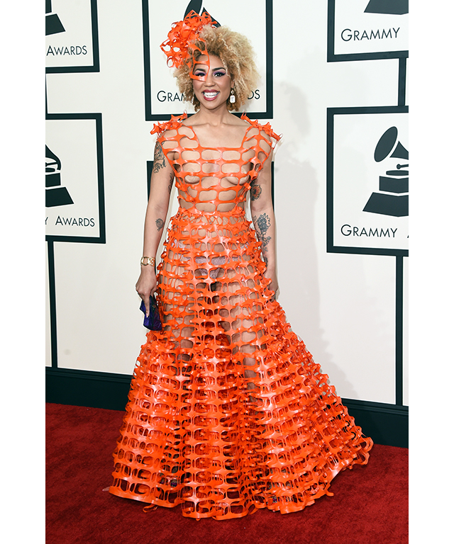 Songstress Joy Villa took to the tape for her Grammys ensemble. Get caught in a temporary fence and your Halloween outfit is sorted.
