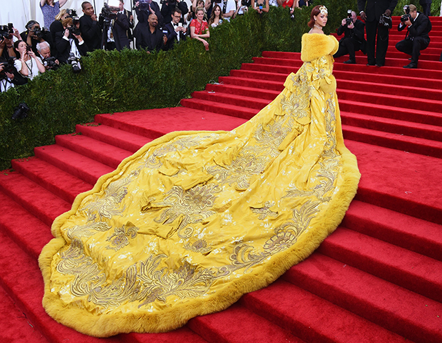 Rihanna threw caution, sense and diet to the wind with her pizza base-esque ensemble for the 2015 Met Gala.