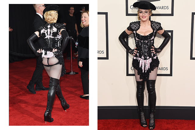 No list would be complete without a nod to the queen of costume, her Madjesty. Madonna's bottomless chaps ensemble for the Grammys is like a Halloween mullet – business at the front and, er, peep-show party at the back.