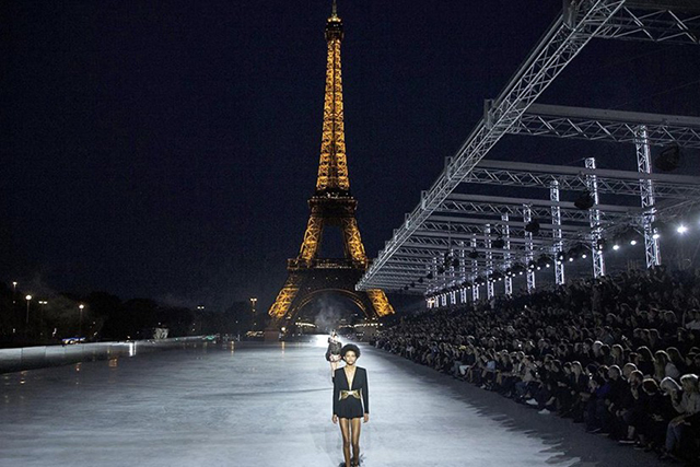 Saint Laurent's Eiffel Tower backdrop