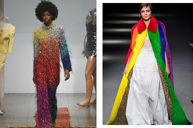 Rainbows ruled at Ashish in signature sparkles and at Burberry for Christopher Bailey's final show celebrating the LGBTQ movement by including the symbolic rainbow in the house's classic checks. Cara Delevingne closed the show in a faux fur rainbow cape that would make Joseph and his technicolour dreamcoat green with envy.