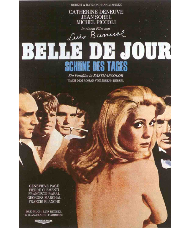 Belle de Jour: A 1967 classic starring Gallic cinema legend Catherine Deneuve, directed by Spaniard Luis Buñuel with literary origins marking it as quintessentially French. It revolves around a sexually frustrated housewife working as a prostitute.