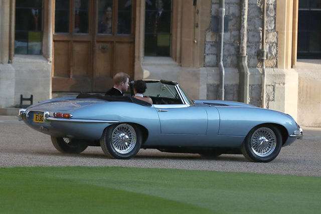 The Duke and Duchess staged a high-glamour James Bond moment, travelling to the evening reception hosted by Prince Charles in a silver blue Jaguar E-Type Concept Zero.