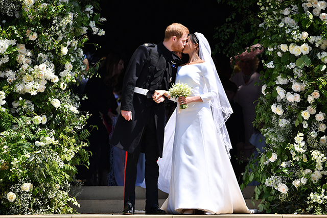 The newlyweds' first kiss on the steps of St. George's Chapel, Windsor Castle was, as expected, swoon-worthy.