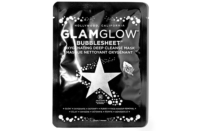 GLAMGLOW Bubblesheet Oxygenating Sheet Mask: this mask is like a cool science experience that transforms your skin before your eyes. It's 3D, charcoal-infused and fizzes up like a soda stream all while deeply cleansing your skin.